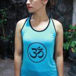 Top Yoga Silang Ohm Biru Muda