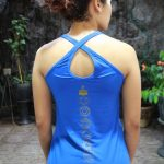 Top Yoga Silang Lotus Biru Tua